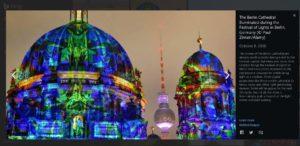 Scheda di BING sulla foto del Duomo di Berlino illuminato durante il Festival of Lights 2016